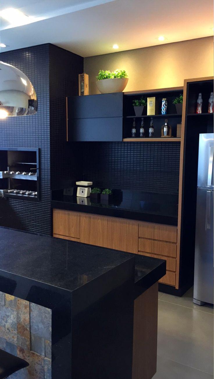 Área de churrasco moderna decorada na cor preta - linda! - Decor Salteado…