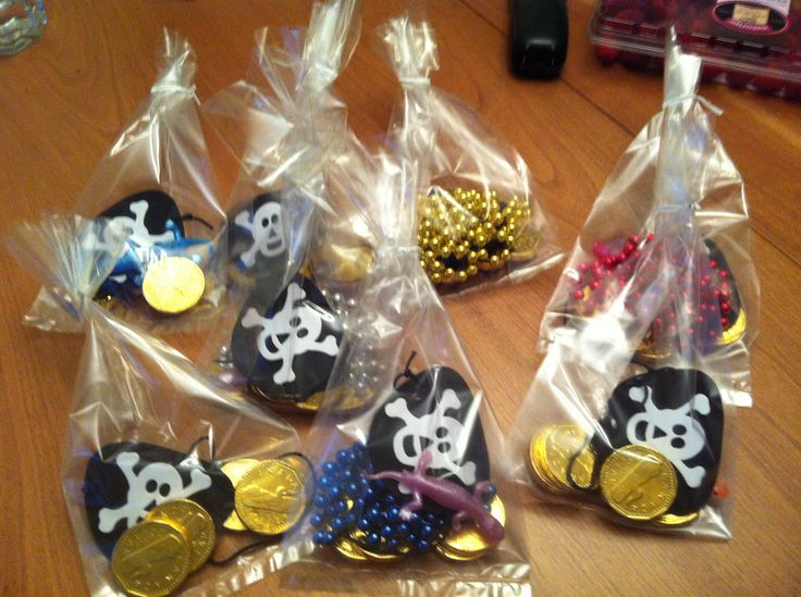 Treasure bags for pirate birthday party for kids