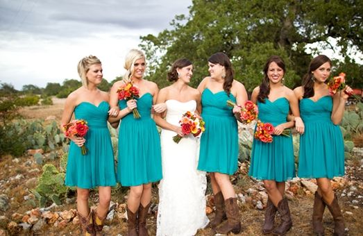 bouquets, homespun, orange, red, yellow, bridesmaid dresses, short ...