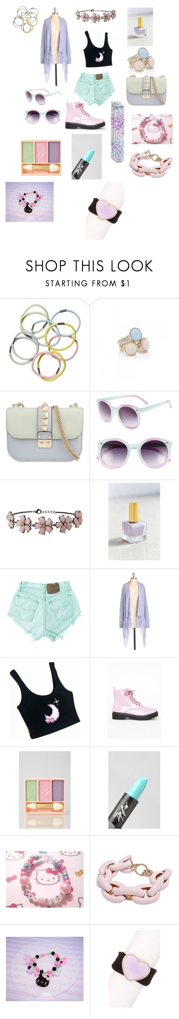 """""""Pastel"""" by justahooliganwithissues ❤ liked on Polyvore featuring Monki, Forever New, Valentino, Tildon, Miss Selfridge, Urban Outfitters, Levi's, Missguided, Paul & Joe and The Lip Bar"""