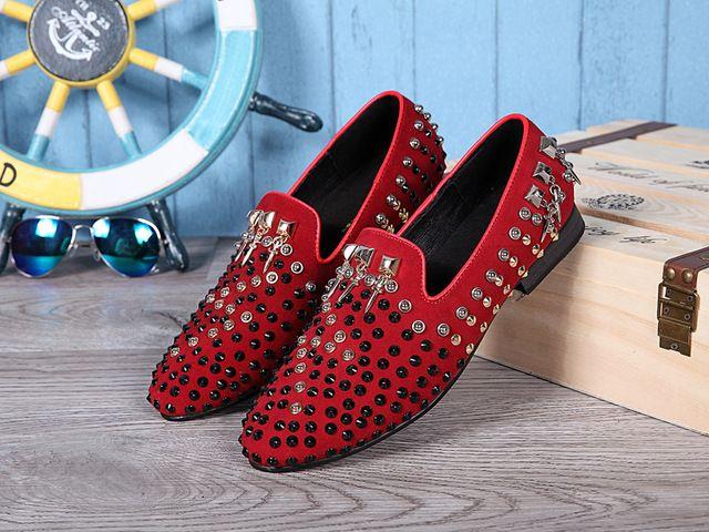 Moda İtalyan Lüks Hakiki Deri Erkek Kırmızı Elbise Ayakkabı Erkekler Loafers Düğün Ayakkabı üzerinde Kayma Flats Artı Boyutu 38-46