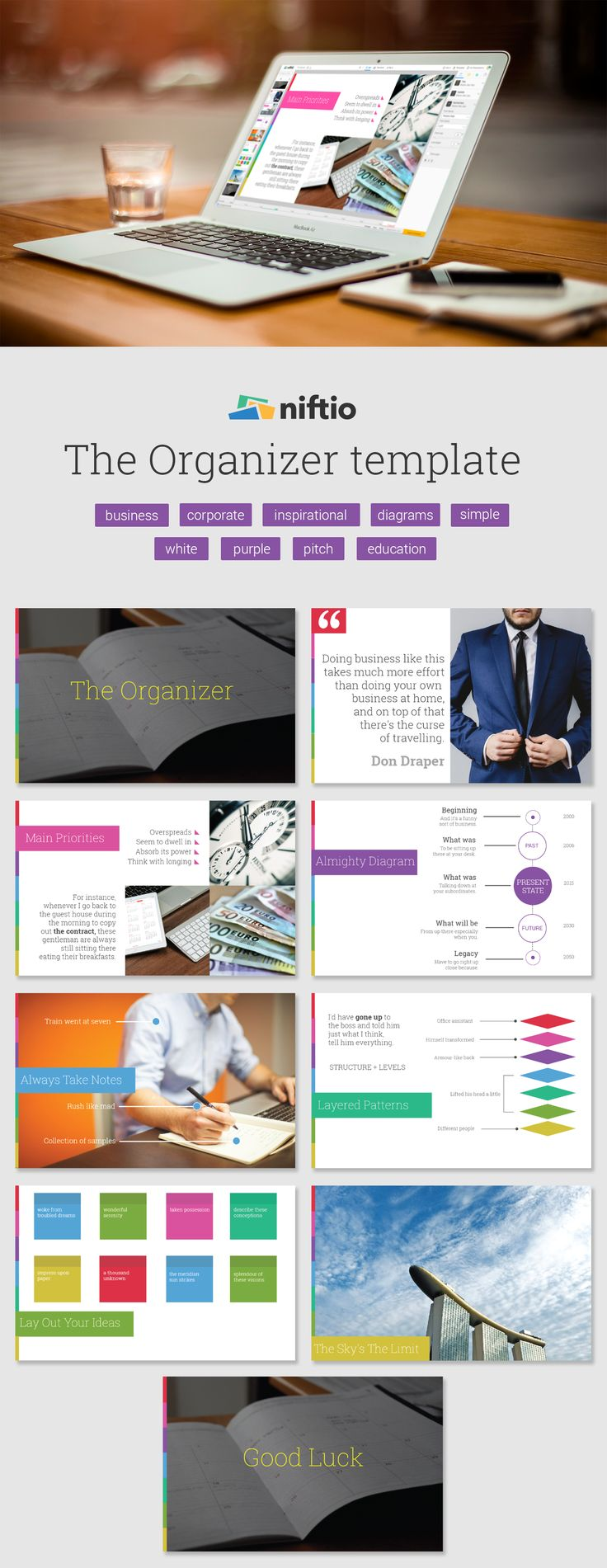 Deliver business presentation with a modern look that could impress a whole board of directors