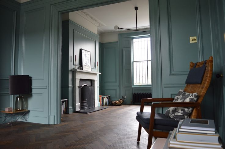 Panelling in Moisture resistant MDF, Tulipwood mouldings, spray finished with Farrow and Ball Oval room Blue eggshell. Designs and mouldings by Vinycomb Bate