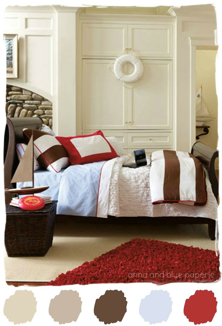Bedroom colors blue and red - Anna And Blue Paperie Color Palette Love Classic Brown Red