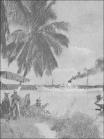 A Benty, ancré dans la Mellacorée, le « Tamara » attend sa cargaison de bananes. – L'appontement de Benty se trouve sur la Mellacorée, une des Rivières du Sud où les navigateurs européens viennent faire du commerce de traite depuis des siècles. Le poste de Benty est l'un des deux forts français fondés dans cette région du temps où Faidherbe était gouverneur du Sénégal, avant la création de la colonie de Guinée. Délaissé après l'édification de Conakry, le lieu reprend du service au milieu…
