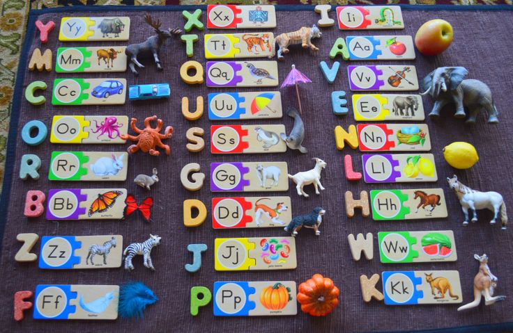 ALPHABET LETTER PUZZLE with matching wooden alphabet letters and matching language objects