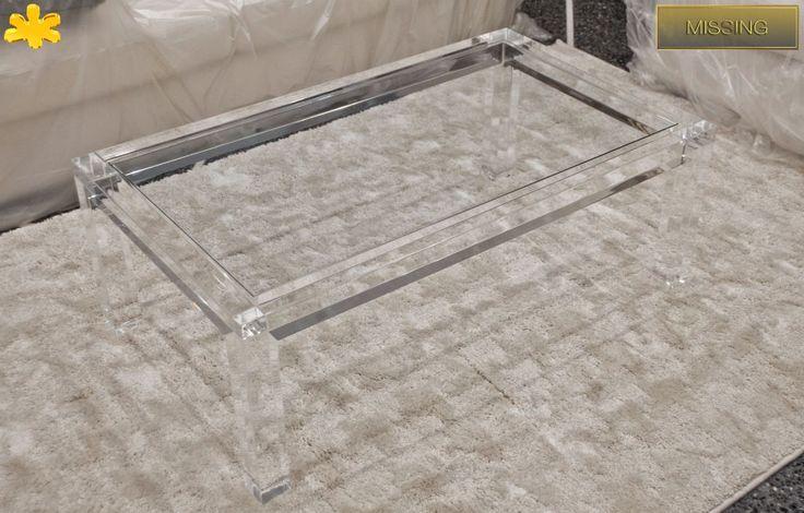 Lucite Acrylic coffe table - TAVOLINI DA SALOTTO IN PLEXIGLASS | Tavolo  trasparente in plexiglass 03. mod.    MISSING   | Tavolino plexiglas cm.110 x 65 h.40 - telaio sp.mm.60 - gambe sez.mm.60