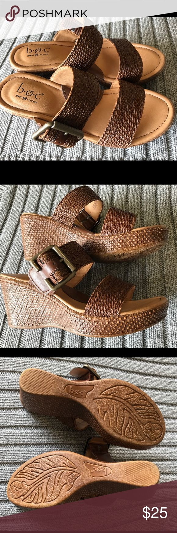 BOC Born Concept Wedge Sandals Brown Sz 6 women's BOC Born Concept Wedge Sandals Brown Sz 6 women's. Excellent condition and comes from a clean and non smoking environment. Born Shoes Sandals