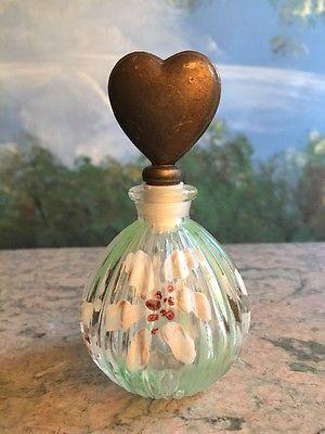 Main VINTAGE Verre peint fleurs pourpres laiton Coeur Top Perfume Bottle