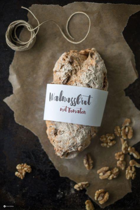 Walnussbrot mit getrockenten Tomaten backen - Kreativfieber.de - mit Freebie Brot Wrapper Etikett