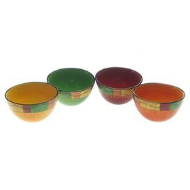 Four stoneware bowls plate hand-painted with a Southwestern stripe motif.  Product: 4 Piece bowl setConstruction Material: CeramicColor: MultiFeatures: Hand-paintedDimensions: 8 H x 10 DiameterCleaning and Care: Dishwasher and microwave safe