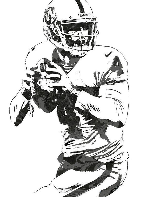Derek Carr Oakland Raiders Pixel Art Art Print By Joe Hamilton