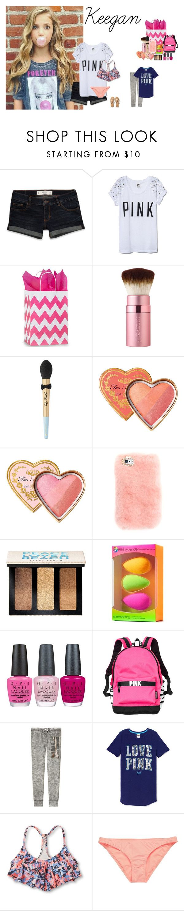 """""""Evelyn's Birthday"""" by thesefamilies ❤ liked on Polyvore featuring Abercrombie & Fitch, Victoria's Secret, Too Faced Cosmetics, Bobbi Brown Cosmetics, beautyblender, OPI, Xhilaration, Rip Curl and Hollister Co."""