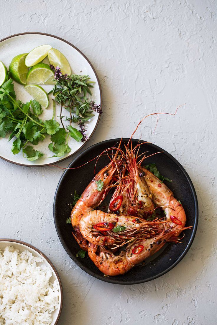 spicy glazed spot prawns served whole recipe from cooking with cocktail rings