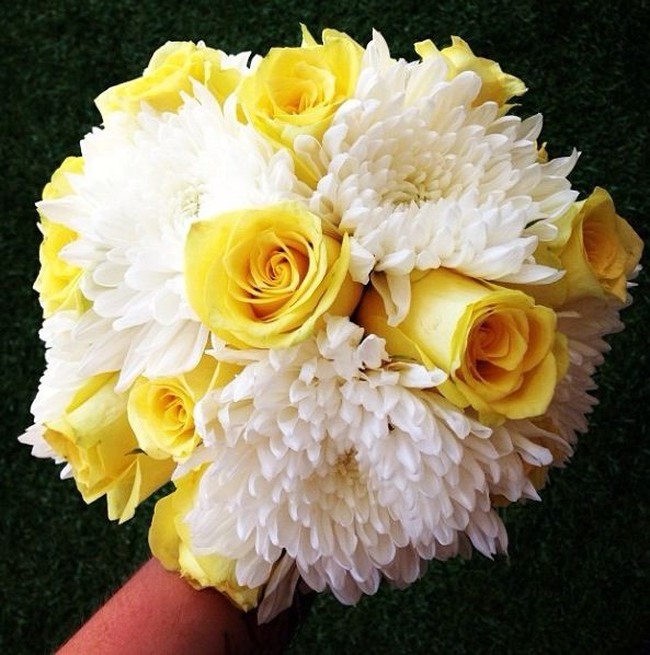 Yellow and white wedding bouquet - Knight Blooms Floral Designs