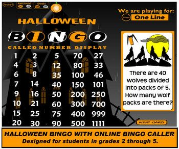 Halloween Math Bingo with Online Bingo Caller. Designed for interactive whiteboard use in grades 2 through 4. Use this to draw question cards and display called answers while your class plays along with their own bingo cards. Get 30 cards for three dollars at TPT.