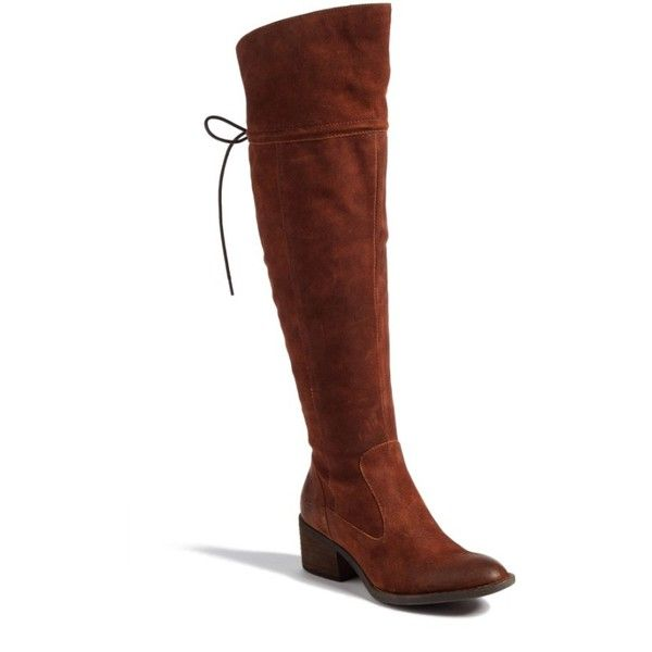 Women's B?rn 'Gallinara' Over The Knee Boot ($200) ❤ liked on Polyvore featuring shoes, boots, tobacco distressed suede, born boots, suede thigh-high boots, chunky over the knee boots, over-the-knee suede boots and chunky lace up boots