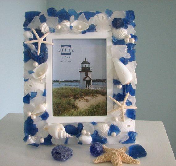 Beach Decor Seashell Frame  Sea Glass Shell by beachgrasscottage, $69.00