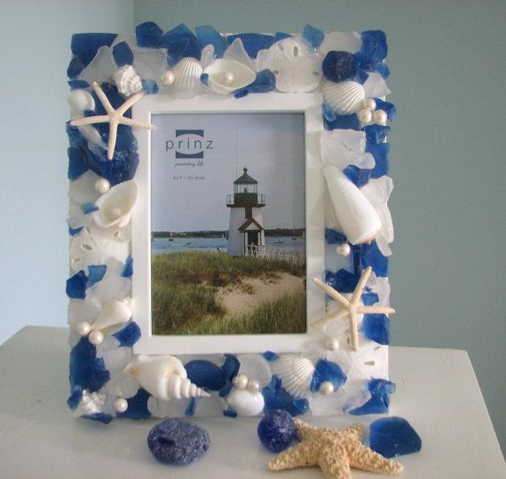 Beach Decor Seashell Frame  Sea Glass Shell by beachgrasscottage, $69.00