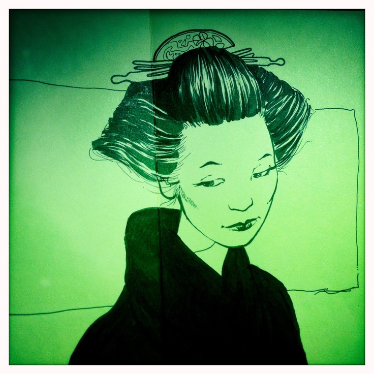 Sketch of a thoughtful, japanese Geisha.