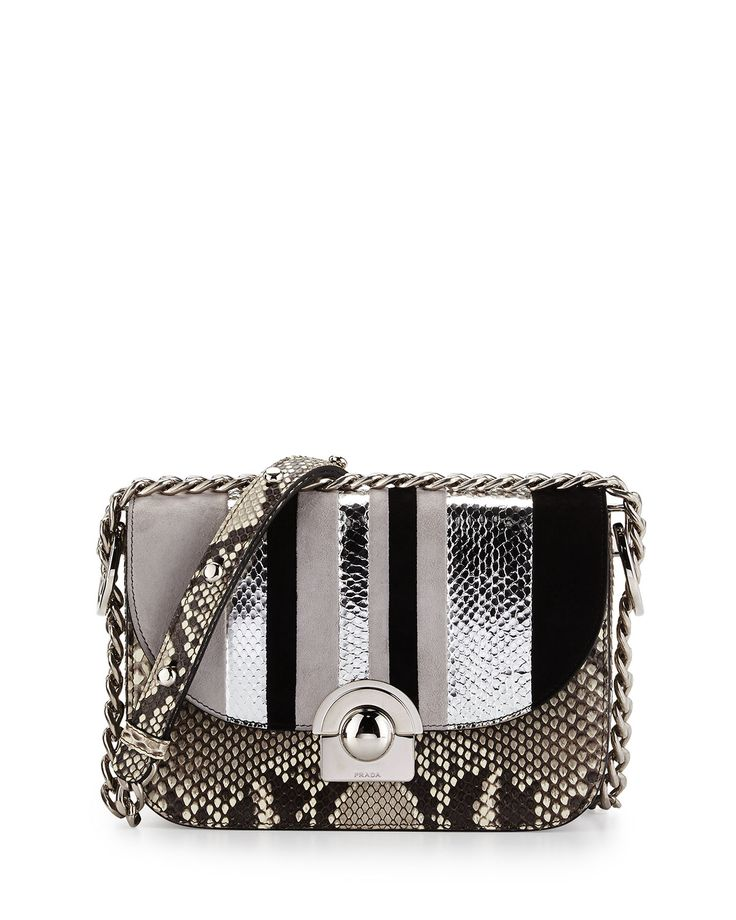 "Prada python/snakeskin/suede striped shoulder bag. Steel hardware. Chain and leather adjustable strap; 20"" drop. Rounded flap top with logo-engraved clasp. Inside: one zip and one open pocket. 5.5""H x"