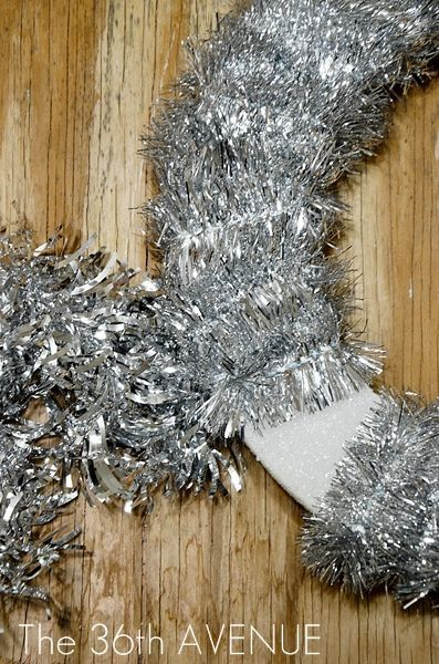 DIY Tinsel New Years Wreath by the36thavenu.com Affordable, quick, and easy to make!