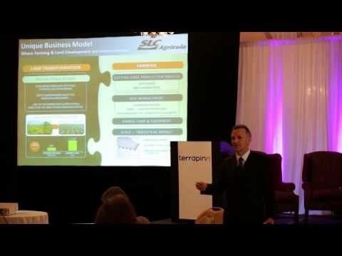Aurelio Pavinto,CEO of SLC Agricola, gives a presentation on his company that in 2014 farms 344,000 hectares (850,000 Acres) of Soybeans, C...