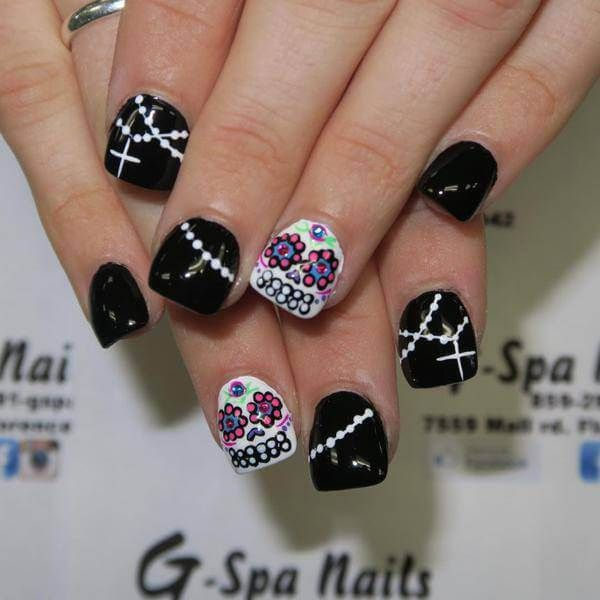 22 best sugar skull nail art designs images on pinterest skull western sugar skull nail art designs for beginners prinsesfo Choice Image