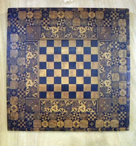 Fantastic Antique 19thC Game Board Chess Checkers Intricate Inlaid Patterns
