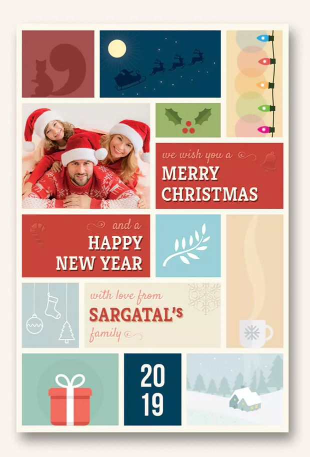 Cute Christmas And New Year Card Volume 04 By Sargatal On Envato Elements Happy New Year Cards New Year Card Christmas And New Year