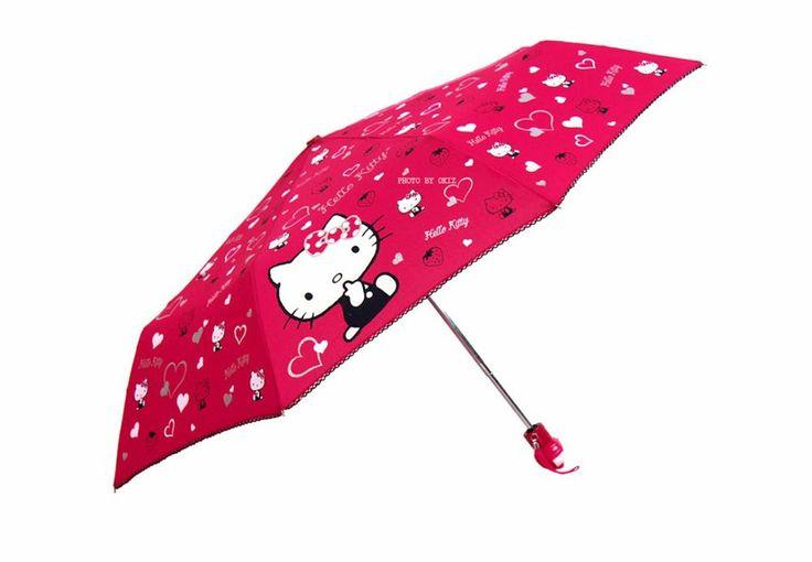 Hello Kitty Umbrella  3 Fold Automatic Auto Button  Woman Lady Child Girl Pink #HelloKitty #CompactFolding