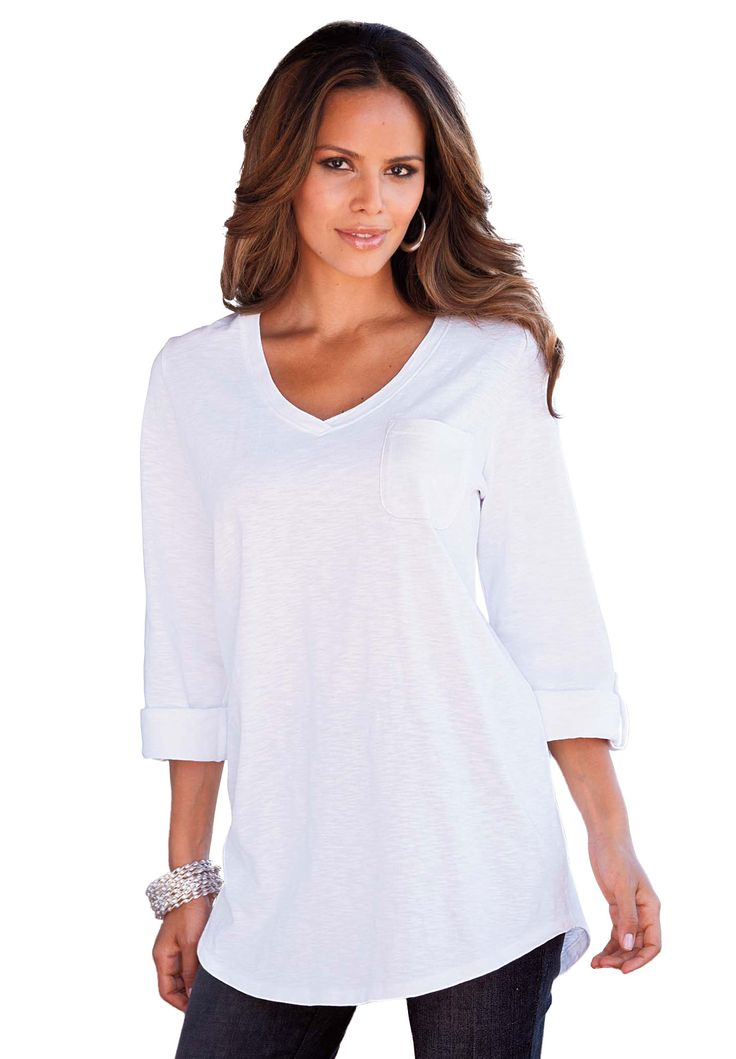 Boyfriend Slub Tunic | Plus Size Tops And Tees | Roamans | Womenu0026#39;s Fashion | Pinterest | Tunics ...