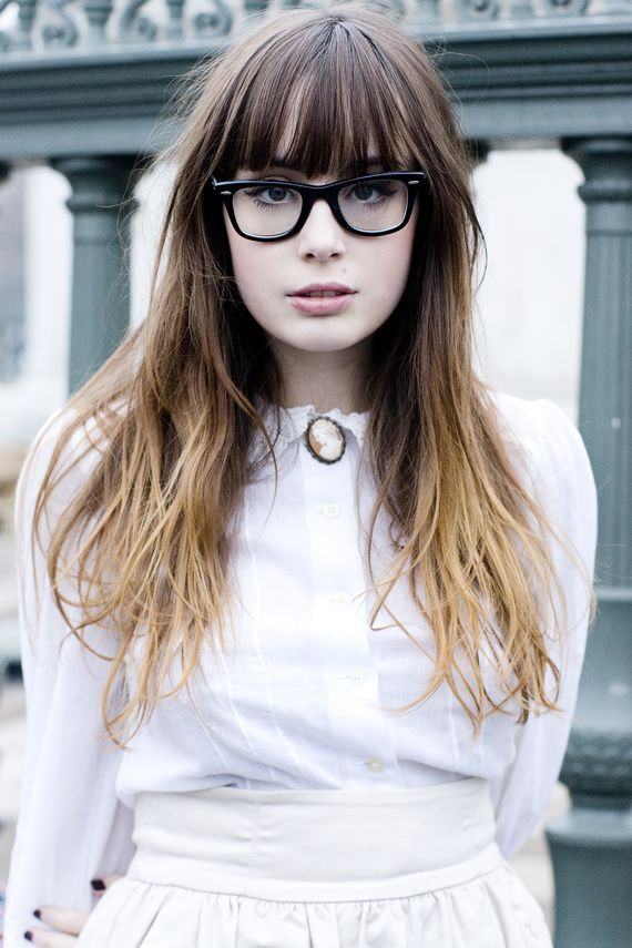 Thinner-looking bangs with glasses and ombre color.