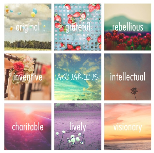 Original,grateful,rebellious,intellectual,inventive,charitable,lively,and spontaneous..Aquarius