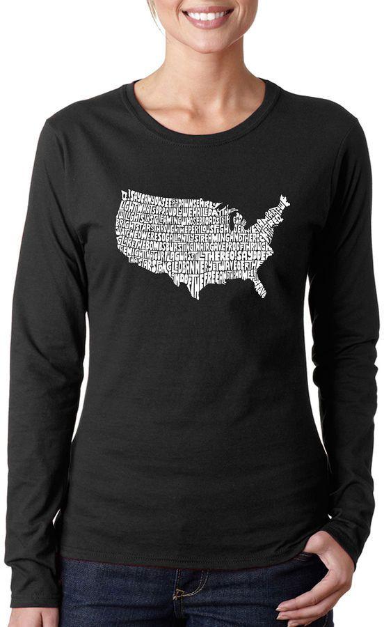 LOS ANGELES POP ART Los Angeles Pop Art The Star Spangled Banner Women's Long Sleeve Word Art Graphic T-Shirt