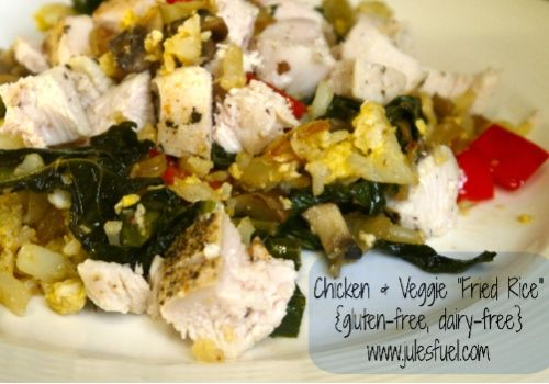 """Chicken & Veggie """"Fried Rice"""" (Gluten-free, dairy-free!)  A super simple and quick, low carb, antioxidant-rich meal! Tastes great as leftovers, too."""