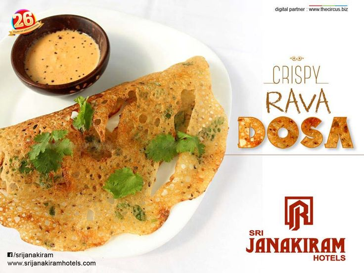 A thin, crisp #rava #dosa topped with an onion-green chilly mixture served with spicy #coconut #chutney at Srijanakiram Hotels makes you say wooow....