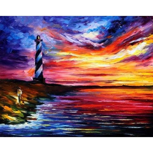 "LIGHTHOUSE -  PALETTE KNIFE Oil Painting On Canvas By Leonid Afremov -  Size 24"" x 30"""