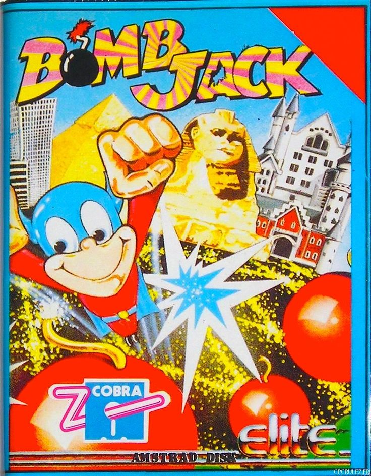 [1986] Bomb Jack II (Elite)   Bomb Jack (ボンジャック Bon Jakku?) is an arcade platform game that was released in 1984 by Tehkan (known today as Tecmo). It was followed by two official sequels, the console and computer title Mighty Bomb Jack, and the arcade game Bomb Jack Twin and the licensed for computers only Bomb Jack II [wiki: https://en.wikipedia.org/wiki/Bomb_Jack]