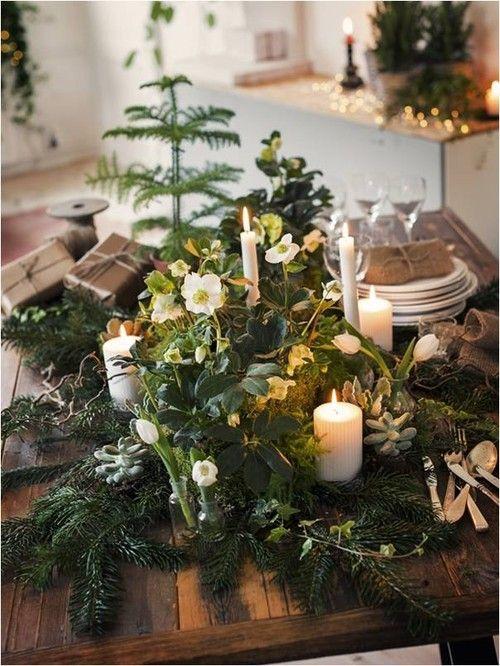 Ellas inspiration - inredning för ditt hem & trädgård! Till dukningen behövs: 7 st kvistar ädelgran 3 st vita julrosor 5 st blandade sorter mini-suckulenter 4 st kvistar ormhassel 3 st mini-fjädersparris 1 st rumsgran 5 st vita tulpaner i mindre vaser 4 st rankor murgröna 6 st vita ljus i blandad formoch storlek + grön mossa och grovt snöre