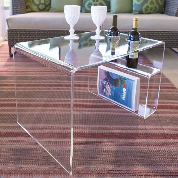 Transparent Perspex Clear Acrylic Coffee Table With Magazine Rack Buy Transparent Perspex Clear Acrylic C In 2020 Acrylic Coffee Table Acrylic Table Plexiglass Table