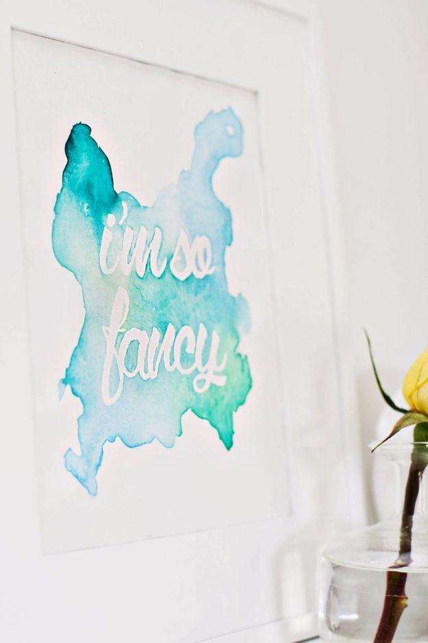 DIY Wall Ideas Arte y hágalo usted mismo decoración de la pared de la sala de estar, dormitorio, cuarto de baño, habitaciones adolescentes |  Frase de la acuarela arte de la pared |  Ideas económicas para aquellos con un presupuesto.  Pintar imágenes impresionantes que cuelgan con estos sencillos tutoriales paso a paso y Proyectos |  http://diyjoy.com/diy-wall-art-decor-ideas