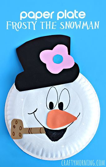 Paper Plate Frosty the Snowman Craft - Winter craft for kids to make | CraftyMorning.com