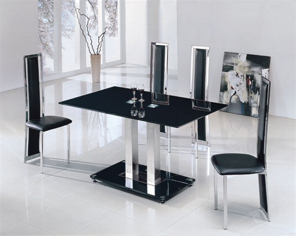 Black Glass Dining Table And 4 Chairs Charming Glass Table And