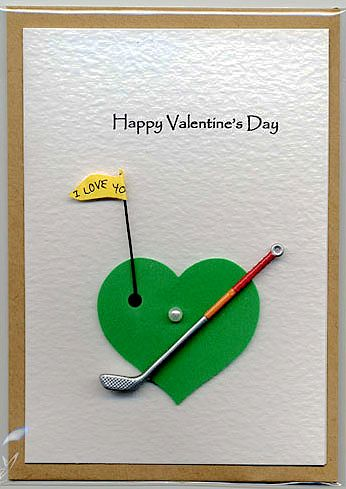 On or off the golf course...have a fabulous Valentine! 157. Golf Valentine card. #handmade #golf #Valentine'sDay