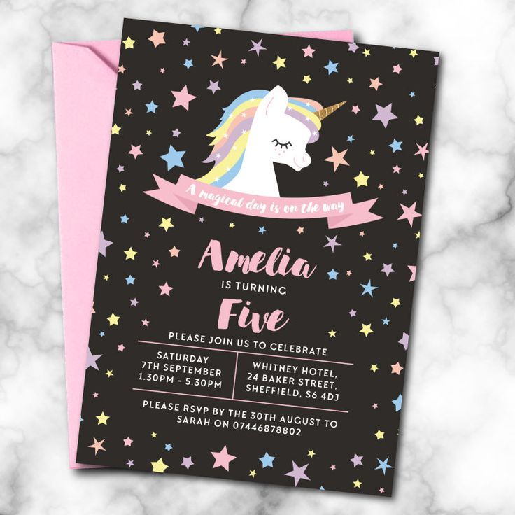 design birthday party invitations free%0A Personalised Unicorn Birthday Invitations A   ANY AGE   Pack of