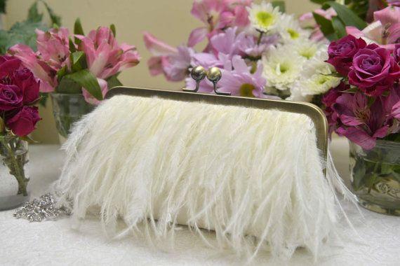 Ostrich Feather Fringe Clutch, White Wedding Purse, Ivory Bridal Clutch, Blush Wedding Purse, Champagne Clutch, {Feather Fringe Kisslock}