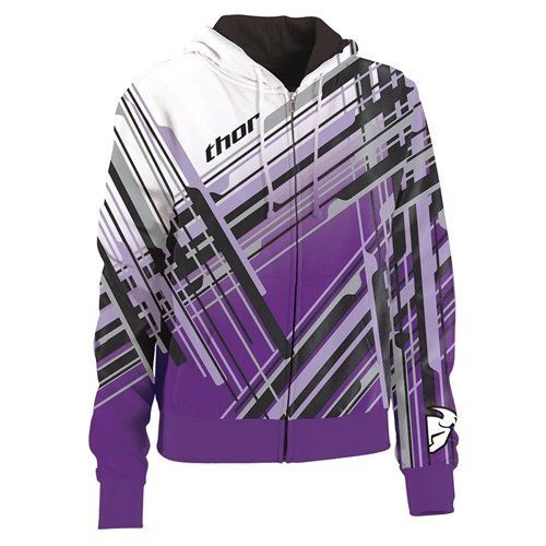 2013 Thor Stix Women's Zip-Up Hoodies - Purple - Large by Thor. $59.95. Fleece bonded polyester with sublimated graphics and embroidered logos.