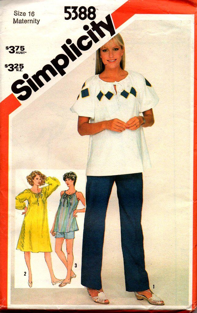 8212023765a Simplicity 5388 Womens Maternity Peasant Style Dress Top and Pants or  Shorts 80s Vintage Sewing Pattern Size 16 Bust 38 inches UNCUT Factory  Folded