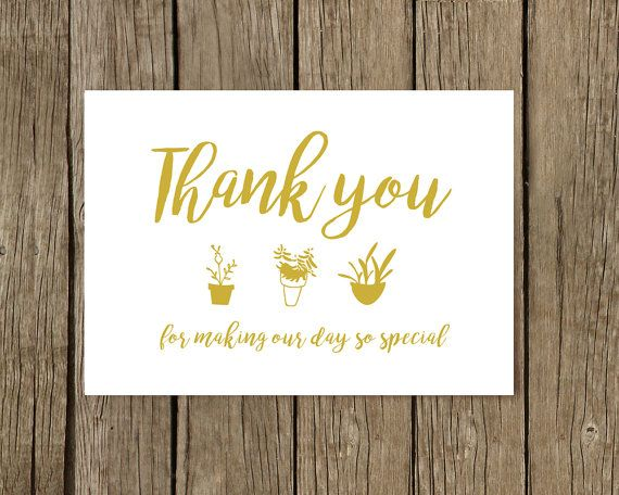 Thank You Wedding Card for Parents, Wedding Card, Thank you card, Thank You Bridesmaid Cards, Boho wedding card, Gold, Pots, Flowers, cute